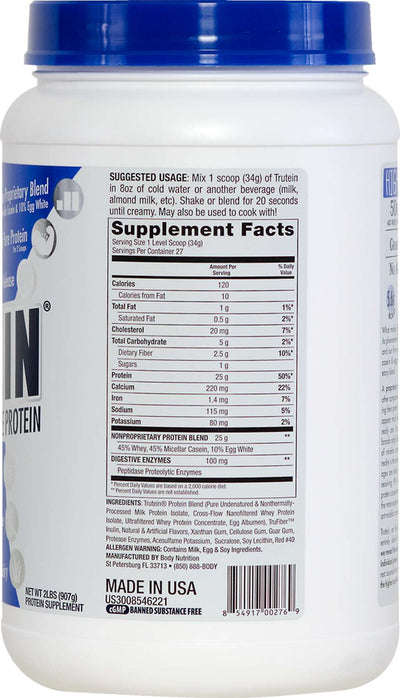 Trutein Protein: 45% Whey, 45% Casein & 10% Egg White - Strawberries & Cream - 2lb (27 Servings)