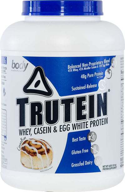 Trutein Protein: 45% Whey, 45% Casein & 10% Egg White - CinnaBun - 4lb (53 Servings)