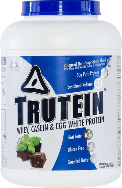 Trutein Protein: 45% Whey, 45% Casein & 10% Egg White - Chocolate Mint - 4lb (53 Servings)