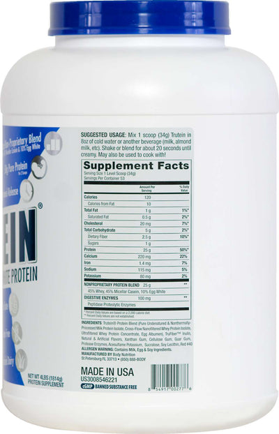 Trutein Protein: 45% Whey, 45% Casein & 10% Egg White - Strawberries & Cream - 4lb (53 Servings)