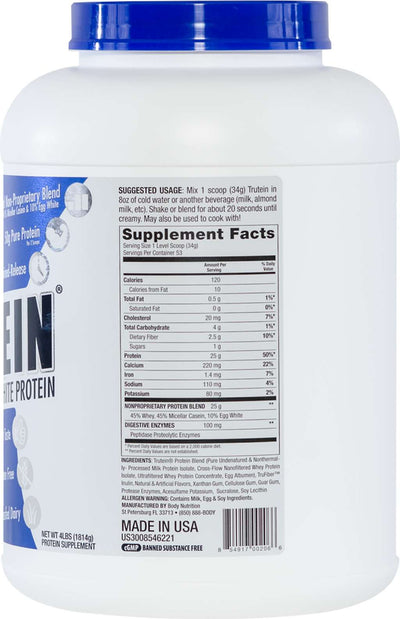 Trutein Protein: 45% Whey, 45% Casein & 10% Egg White - Vanilla Bean - 4lb (53 Servings)