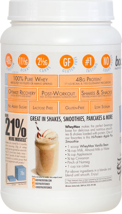 WheyMax: Functional Instant Whey Protein Shake - Vanilla Bean - 2lb (27.5 Servings)