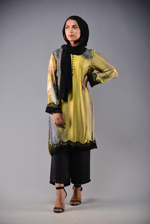 RANA'S CREATION ABSTRACT PRINT SILK LUXURY PRET KURTA 2