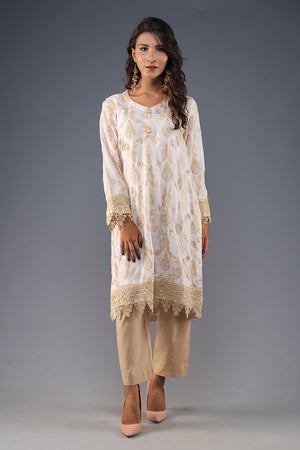 Rana's Creation Beige and White Embrodiered Pret Kurta