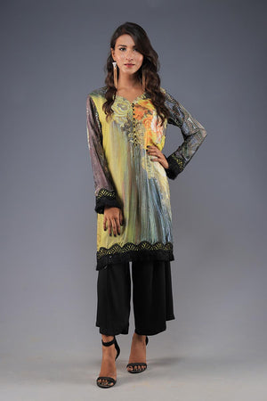 Rana's Creation Abstract Print Silk Luxury Pret Kurta