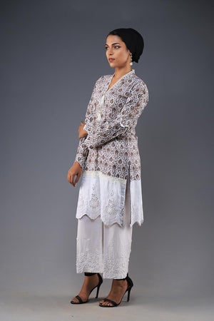 Rana's Creation Beige Block Print Shirt with Lace Insert Border