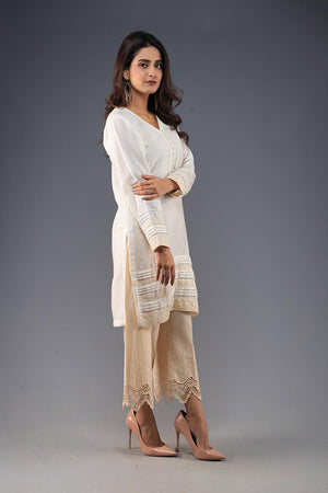 Rana's Creation White Khaddi Cotton lace Detail Smart Casual Kurta