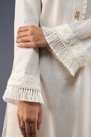 Rana's Creation White Sherwani Collar pleated neckline shirt with lace details and fray shirt border