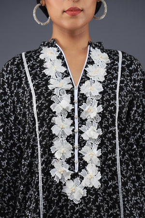 Rana's Creation Black and White Boho floral neckline Detail Kurta