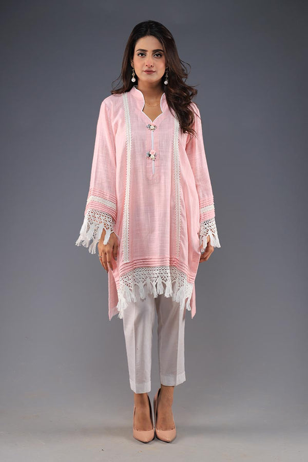 Rana's Creation Pink Khaddi Cotton Kurta With Rosette Button and Boho fringe details