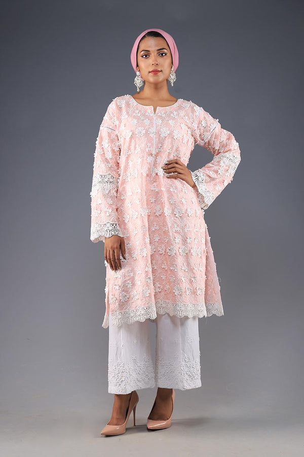 Rana's Creation Pink 3D Floral detail Cotton summer Kurta