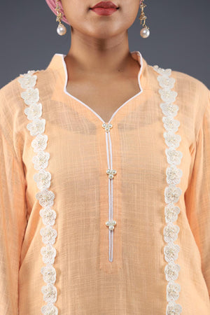 Rana's Creation Sorbet Orange Khaddi Cotton Boho Kurta with fringe details