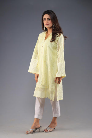 Rana's Creation Yellow Summer Chikan Kurta