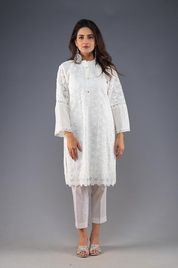 Rana's Creation White Lace Detail Kurta