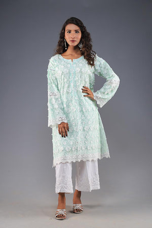 Rana's Creation Aqua 3D Floral detail Cotton summer Kurta