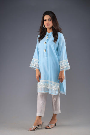 Rana's Creation Blue Cotton Kurta With Organza Lace and Floral Button Details