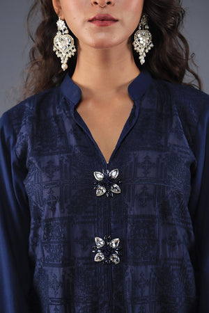 Rana's Creation Navy Blue Cotton Silk Self embossed Kurta With beaded tassels