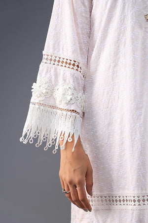 Rana's Creation Baby Pink Chikan piece with floral style buttons and Boho fringe lace details