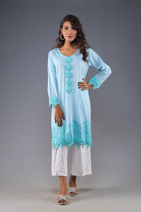 Rana's Creation Aqua Blue 3D floral Button Detail Border Appliqué Kurta