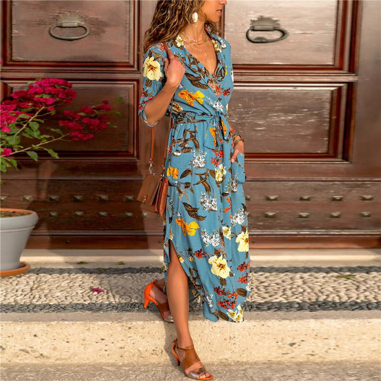 Printed Casual V-Neck Tie With Long Sleeve Dress