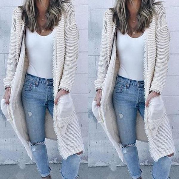 Solid Color Casual Knitted Sweater Cardigan