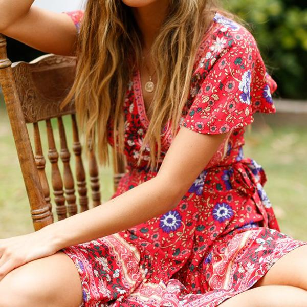 Bohemian Style V Neck Mini Dress