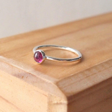 Silver and Rhodolite Garnet Ring