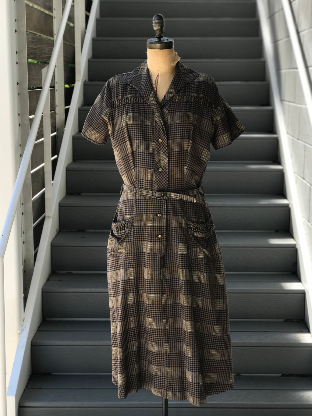 1940s *PLUS SIZE* Gingham\Plaid Day Dress