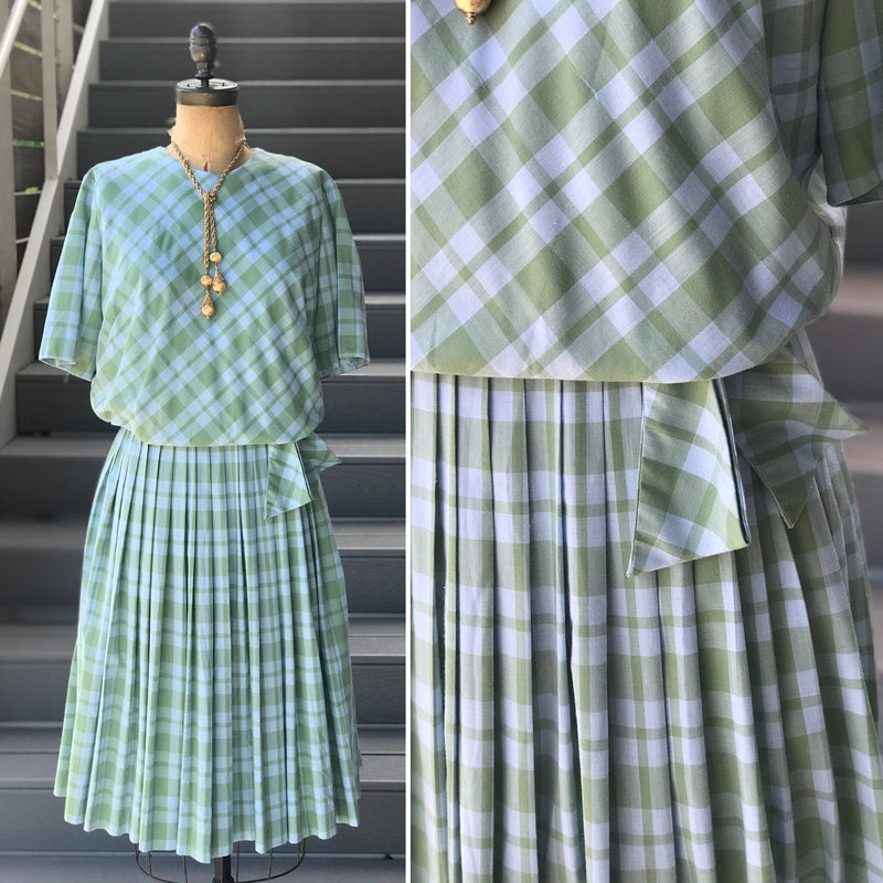 1960s Ocean Plaid Cotton Day Dress