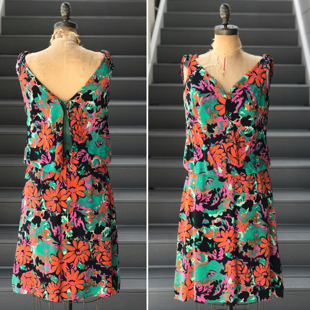"*DESIGNER* 1960s Tropical Floral ""Jane Andre"" Cocktail Dress"