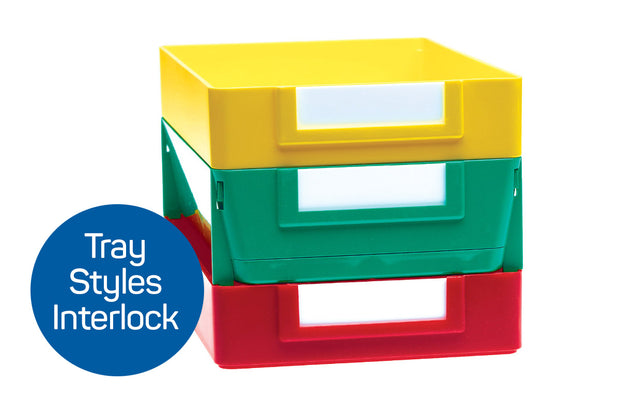 Click 'n Stack Extra Deep Job Trays interlocking with Plastic Stackable Shop Trays