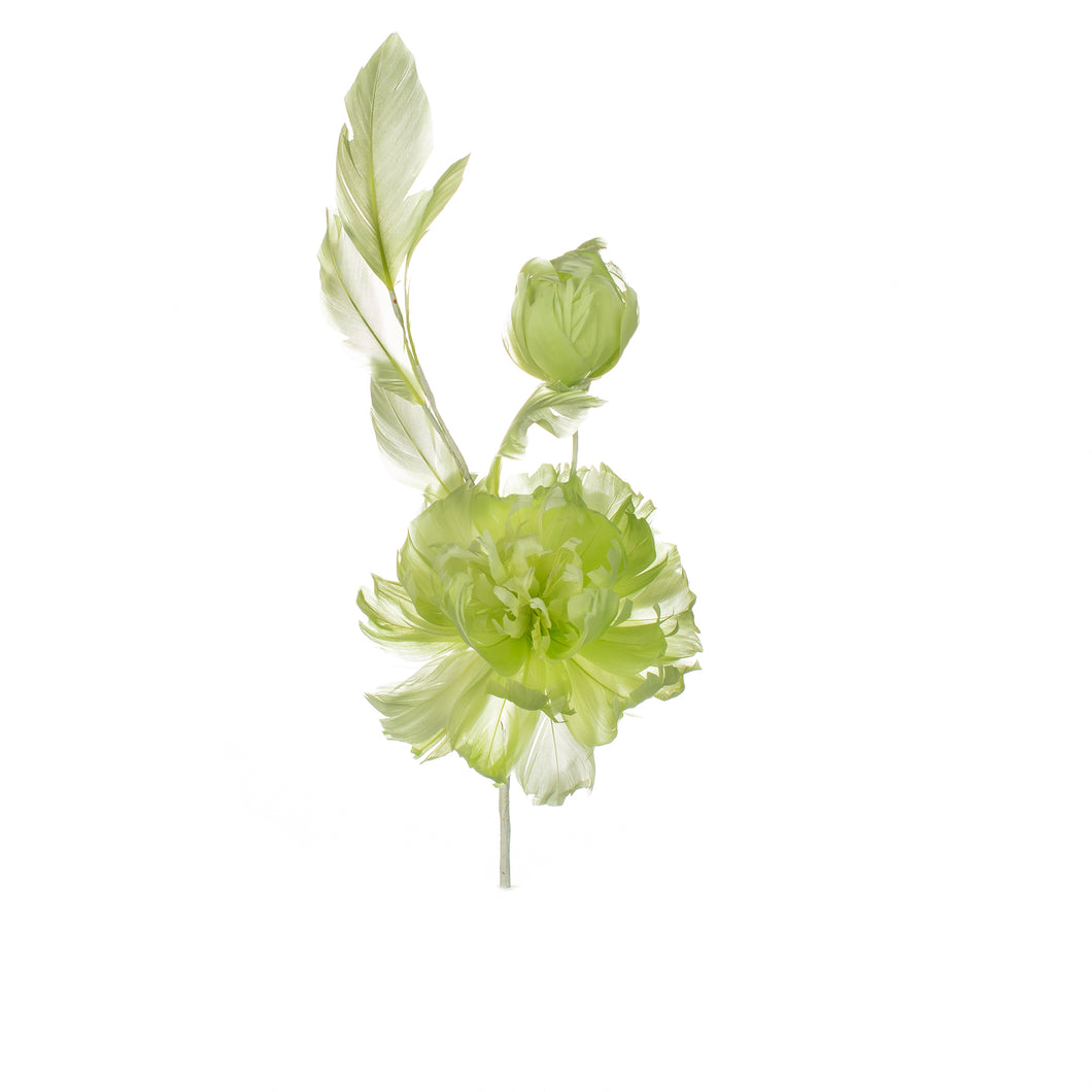 Lime Feather Peony Millinery Supplies UK