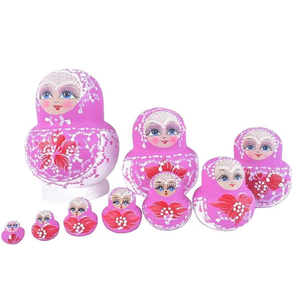 Pink 10 Pieces Matryoshka Nesting Dolls
