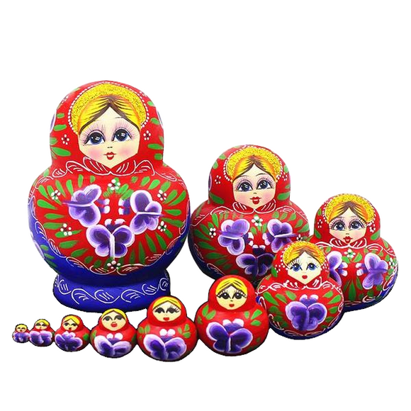 10 Pieces Red Matryoshka Nesting Dolls
