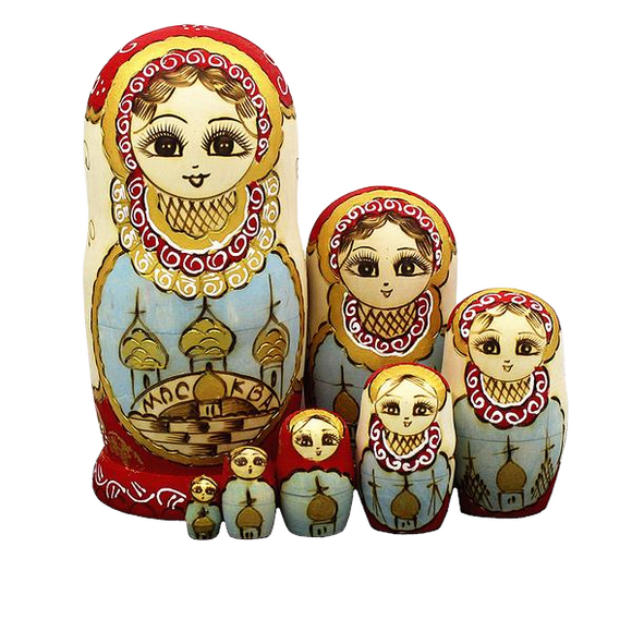 Yellow Wooden Matryoshka Nesting Dolls 7 Pieces