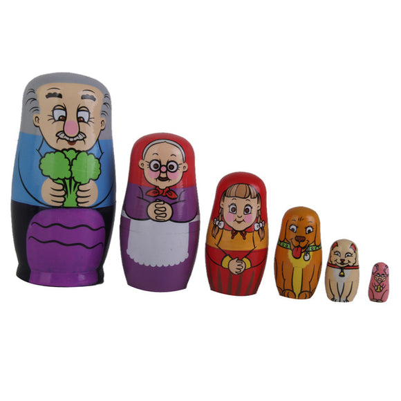 Rustic Family Matryoshka Nesting Dolls 6 Pieces
