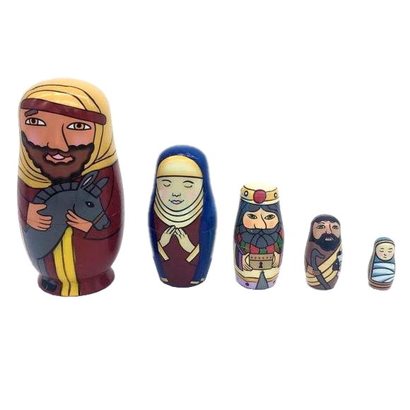 Nativity Matryoshka Nesting Dolls 5 Pieces