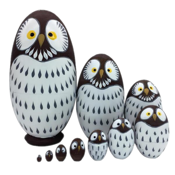 Large Owl Matryoshka Nesting Dolls 10 Pieces