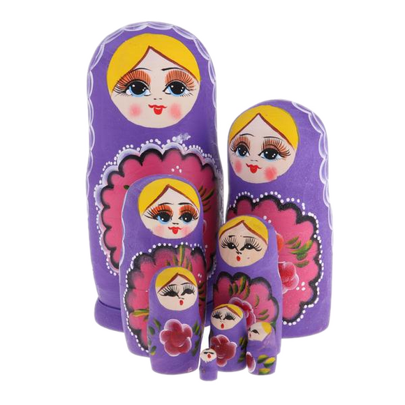 Elegant Purple Matryoshka Nesting Dolls 8 Pieces