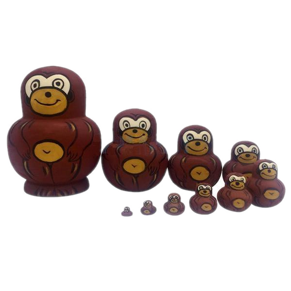 Brown Monkeys Matryoshka Nesting Dolls 10 Pieces