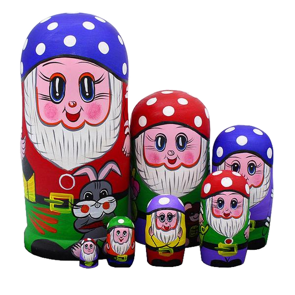 Happy Dwarfs Matryoshka Nesting Dolls 7 Pieces