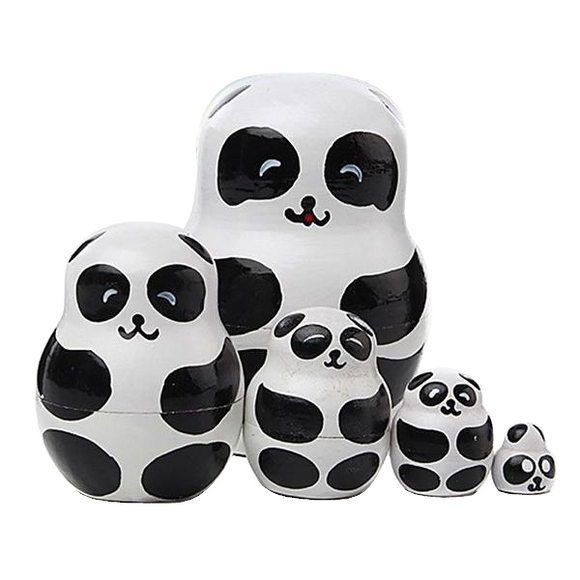 Charming Pandas Matryoshka Nesting Dolls 5 Pieces