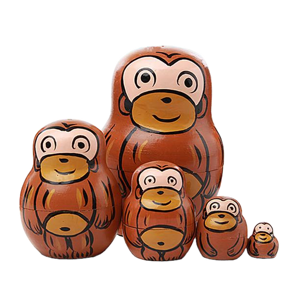 Playful Brown Monkeys Matryoshka Nesting Dolls 5 Pieces