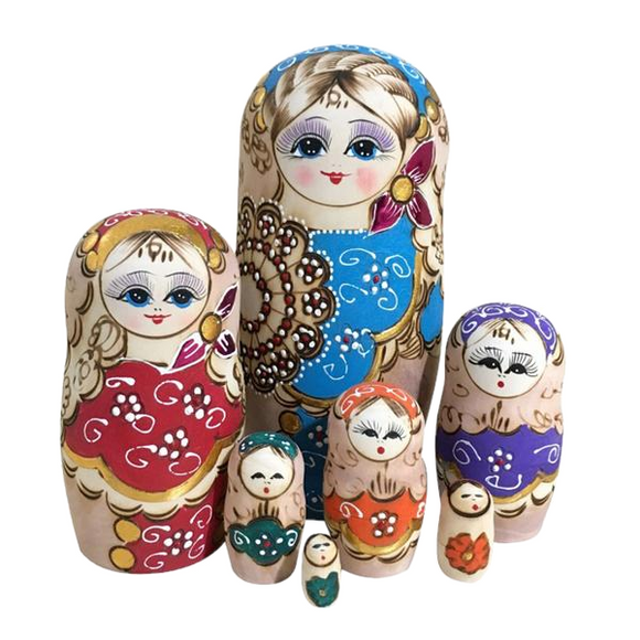 Colorful Matryoshka Nesting Dolls 7 Pieces
