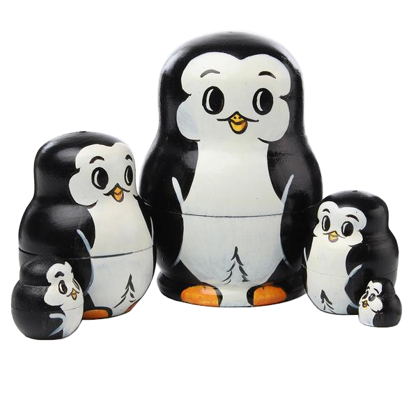 Cute Baby Penguins Matryoshka Nesting Dolls 5 Pieces