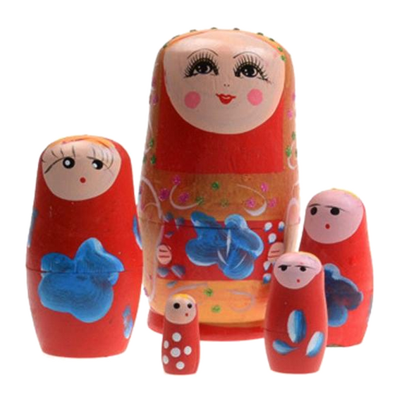 Ethnic Russian Matryoshka Nesting Dolls 5 Pieces