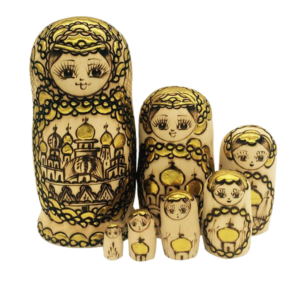 Yellow Matryoshka Nesting Dolls 7 Pieces
