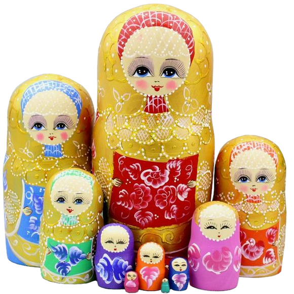 Handmade Wooden Yellow Matryoshka Nesting Dolls 10 Pieces