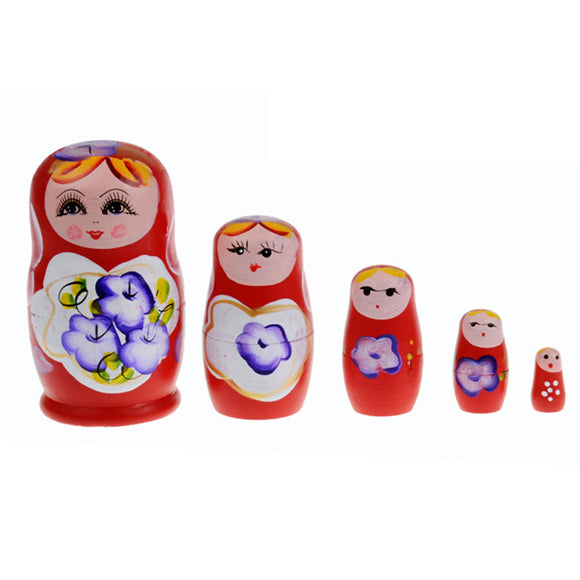 Small Red Matryoshka Nesting Dolls 5 Pieces
