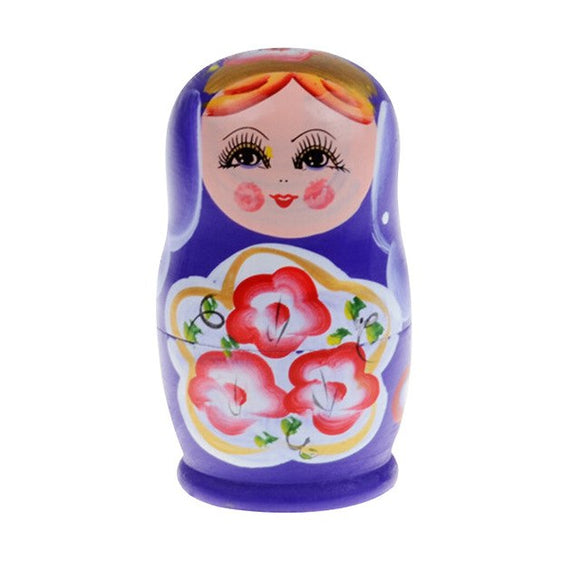 Small Purple Matryoshka Nesting Dolls 5 Pieces